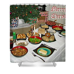 Merry Christmas- Traditional Lithuanian Christmas Eve Dinner Shower Curtain by Ausra Huntington nee Paulauskaite