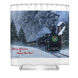 Merry Christmas Train Shower Curtain