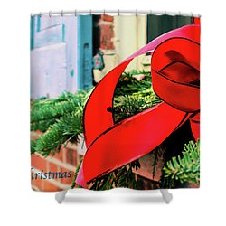 Merry Christmas Window Bow Shower Curtain