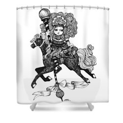 Merry-go-round Girl Shower Curtain
