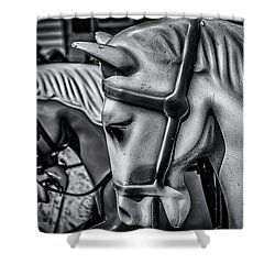 Merry-go-round-horses Shower Curtain by Ken Morris