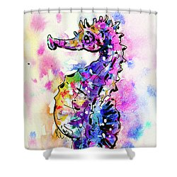 Shower Curtain featuring the painting Merry Seahorse by Zaira Dzhaubaeva