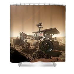 Shower Curtain featuring the digital art Mers Rover by Bryan Versteeg
