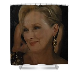 Meryl Streep Receiving The Oscar As Margaret Thatcher  Shower Curtain by Colette V Hera  Guggenheim