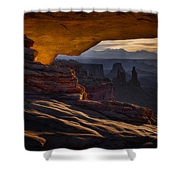 Shower Curtain featuring the photograph Mesa Arch Glow by Jaki Miller