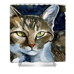 Mesmerizing Eyes - Tabby Cat Painting Shower Curtain