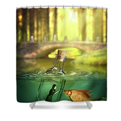 Shower Curtain featuring the digital art Message In A Bottle by Nathan Wright