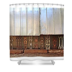 Metal And Ironwork With White Border Shower Curtain