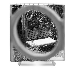 Metal Bench In Sedona Shower Curtain by Claudia Goodell