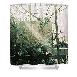 Metal Fence With Grafitti And Bridge Shower Curtain