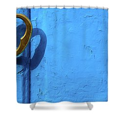 Shower Curtain featuring the photograph Metal Knob Blue Door by Prakash Ghai
