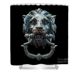 Shower Curtain featuring the photograph Metal Lion Head Doorknocker Isolated Black by Antony McAulay
