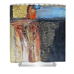 Shower Curtain featuring the mixed media Metallic Fall With Blue by Phyllis Howard