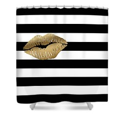 Metallic Gold Lips Black And White Stripes Shower Curtain by Georgeta Blanaru