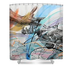 Shower Curtain featuring the painting Metamorphosis by J- J- Espinoza