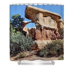 Shower Curtain featuring the photograph Metate Arch - Devils Garden by Nikolyn McDonald
