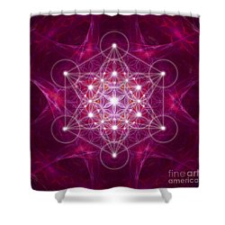 Metatron Cube Fractal Shower Curtain