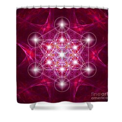 Metatron Cube With Flower Shower Curtain