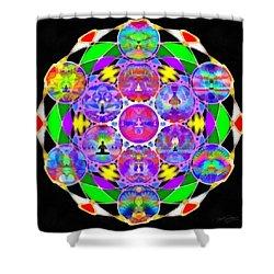 Shower Curtain featuring the digital art Metatron's Cosmic Ascension by Derek Gedney