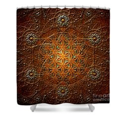 Metatron's Cube Inflower Of Life Shower Curtain