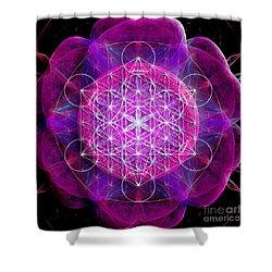 Metatron's Cube On Fractal Pletals Shower Curtain
