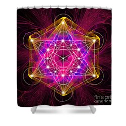 Metatron's Cube With Flower Of Life Shower Curtain