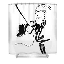 Meteor Mags Kick It Shower Curtain by Matthew Howard