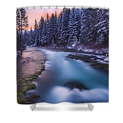 Shower Curtain featuring the photograph Metolius Sunset by Cat Connor