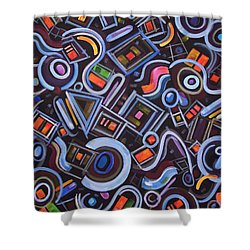 Shower Curtain featuring the painting Metrimorphic Lll by Lynda Lehmann
