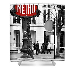 Metro On Avenue Montaigne Shower Curtain by John Rizzuto