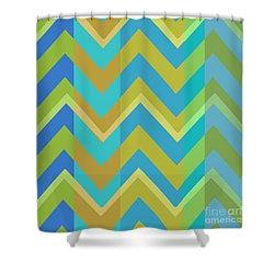 Metro Retro Zig Zag Cool Tones Shower Curtain