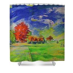 Mettmann Golfclub Von Einfahrt   Mettmann Golf Club From Entrance Shower Curtain