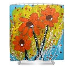 Mexican Sunflowers Flower Garden Shower Curtain