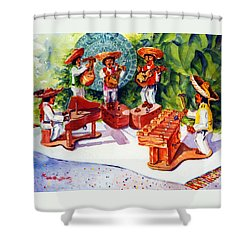 Mexico Mariachis Shower Curtain by Estela Robles