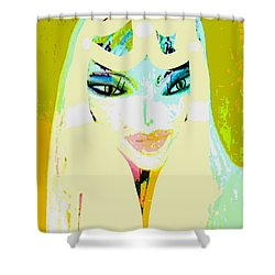Shower Curtain featuring the mixed media Mia 2 by Ann Calvo