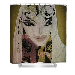 Shower Curtain featuring the mixed media Mia by Ann Calvo