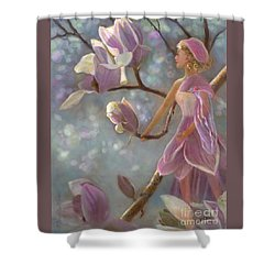 Shower Curtain featuring the painting Mia Magnolia Fairy by Nancy Lee Moran