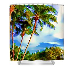 Miami Maurice Gibb Memorial Park Shower Curtain by Patrice Torrillo