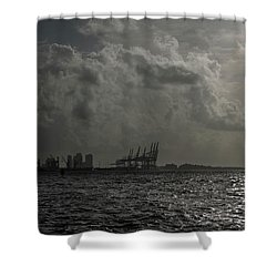 Miami Port At Daybreak Shower Curtain