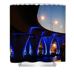 Miami Port Bridge Shower Curtain by James Kirkikis