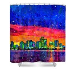 Miami Skyline 100 - Da Shower Curtain