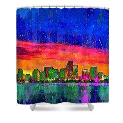 Miami Skyline 115 - Da Shower Curtain