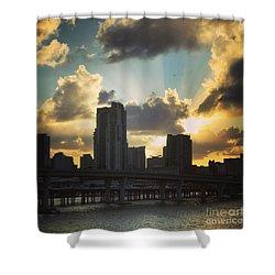 Miami  Skyline Shower Curtain