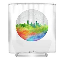 Miami Skyline Usflmi20 Shower Curtain by Aged Pixel