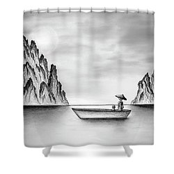 Micah Monk 01 - In The Moment Shower Curtain by Lori Grimmett