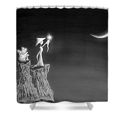 Micah Monk 11 - Light Up The Sky Shower Curtain by Lori Grimmett
