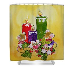 Mice With Candles Shower Curtain by Diane Matthes