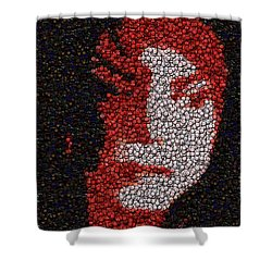 Shower Curtain featuring the mixed media Michael Jackson Bottle Cap Mosaic by Paul Van Scott