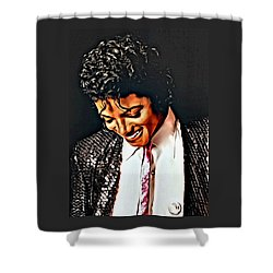 Shower Curtain featuring the painting Michael Jackson The Ultimate Humanitarian by Karen Showell