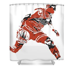 Michael Jordan Chicago Bulls Pixel Art 10 Shower Curtain